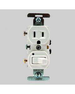 Switch/Plug Combo - White 15a 120v