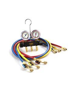 "CPS® Pro-Set® 1/4"" 45° Premium Piston Series Two Valve Manifold & Gauge Set with Premium Pro-Set® Barrier Hoses with Ball Valves"