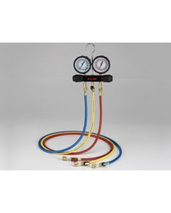 """CPS® Workingman's Choice Series Two Valve 1/4"""" 45° Manifold & Gauge Set with 3' Premium Barrier Hoses with Ball Valves"""